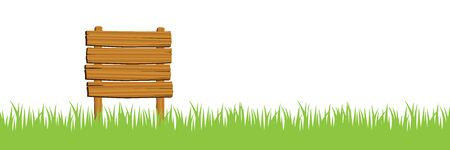 Illustration wooden sign and grass, white background