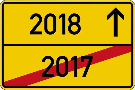 German road sign with the years 2017 and 2018