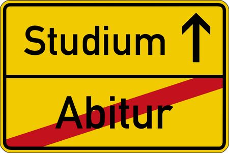 The German words for school leaving examination and studies (Abitur and Studium) on a road sign Standard-Bild