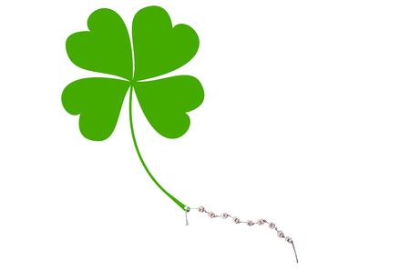 The german words for Good Luck and a cloverleaf on a cord, isolated on white