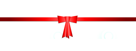 Red ribbon with red bow, white background Standard-Bild