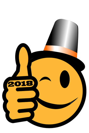 New Year´s smiley with thumb and party hat up and year 2018 Standard-Bild