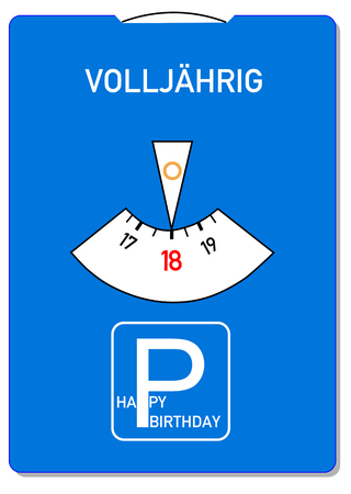 Birthday card for 18th birthday with the German word for of age (Volljaehrig) Standard-Bild