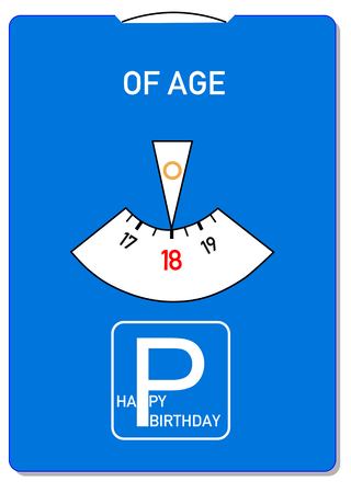 Birthday card for 18th birthday with the word of age Standard-Bild