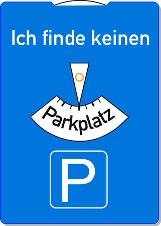 A parking disc with the german words for I can not find a parking lot, symbolizes parking problems Standard-Bild