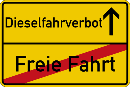 The German words for free ride and diesel driving prohibited (Freie Fahrt und Dieselfahrverbot) on a road sign