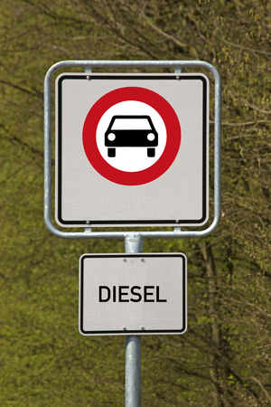 Traffic sign diesel driving prohibited