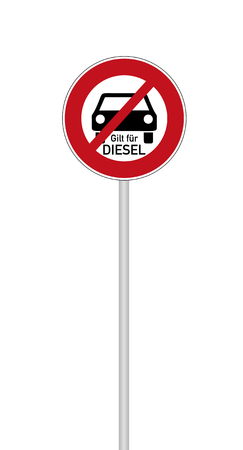 German traffic sign  for diesel driving prohibited with german text for applies to diesel, isolated on white Standard-Bild