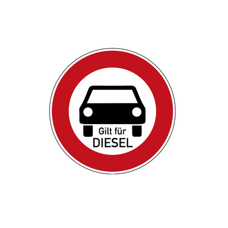 German traffic sign  for diesel driving prohibited with german text for applies to diesel, isolated on white Banco de Imagens