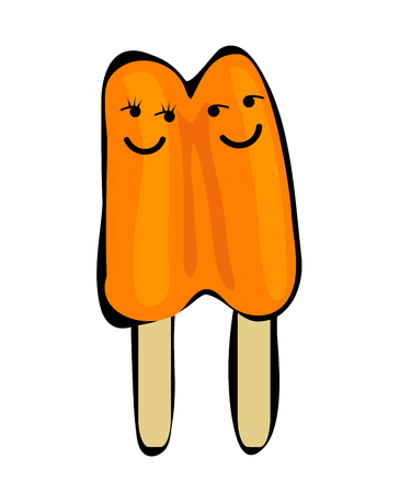 Two popsicles with faces, isolated on white Stock Photo