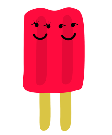 Two ice lolly with faces, isolated on white