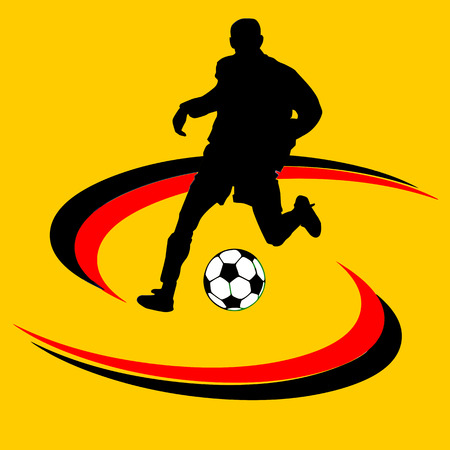 Black and white soccer ball or football and silhouette of a soccer player, graphic, white background
