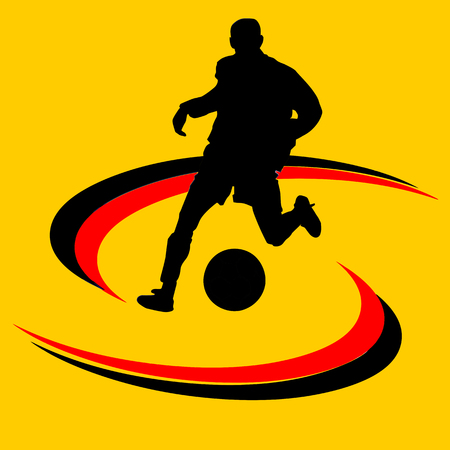 soccer ball or football and silhouette of a soccer player, graphic, white background