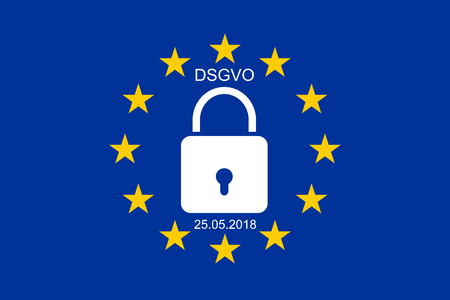 European flag with text DSGVO and 25.05.2018 Standard-Bild - 101884573