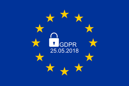 European flag with text GDPR and 25.05.2018 Standard-Bild