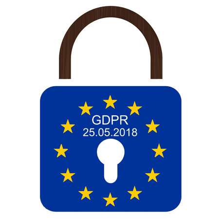 European flag with text GDPR and 25.05.2018 Standard-Bild - 101849399