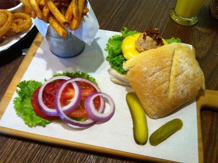 Homemade hamburger Stock Photo