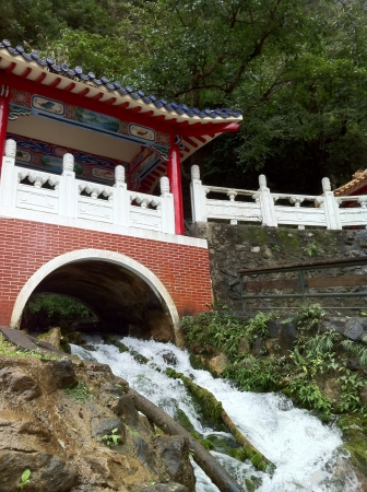 Water spring flow near a temple on a hill