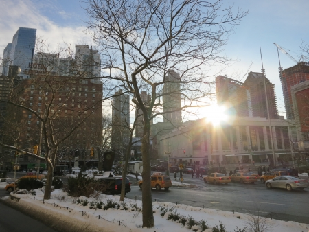 New York City View in Winter Morning Editorial