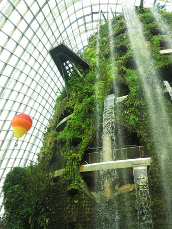 Waterfall at Garden By the bay Editorial