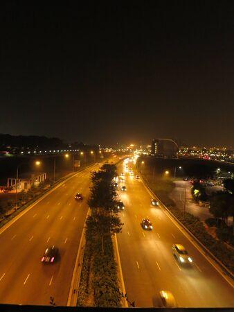 Night Traffic Road View Stock Photo