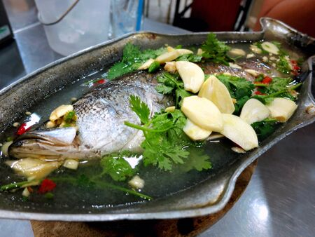 Chinese onion steamed fish