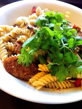 Italian penne with cheese and sausage