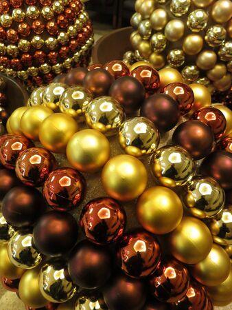 Glittering Christmas balls decoration  Stock Photo