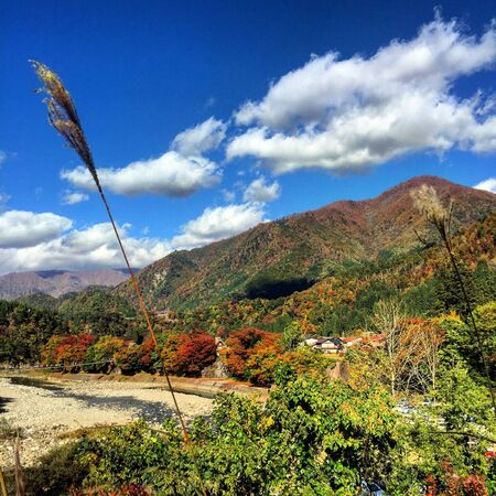 Shirakawago mountain background Stock Photo