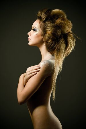 naked lady: Fashion studio photo of beautiful nude woman with long hair