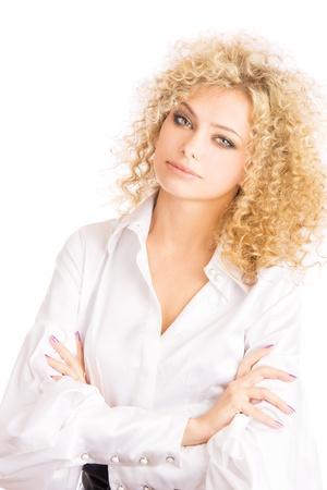 Closeup studio fashion portrait of a beautiful young sexy woman