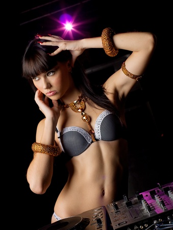 sexy headphones: Sexy DJ girl Stock Photo