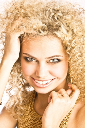 Beautiful blond woman's face photo
