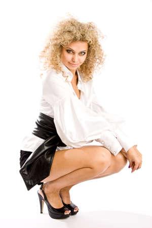 showbusiness: Fashion model isolated on white background