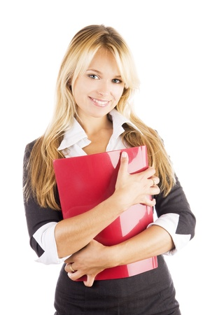 Studio portrait of a beautiful young smiling business woman holding red file in her hands, isolated on white background Stock Photo - 16231715