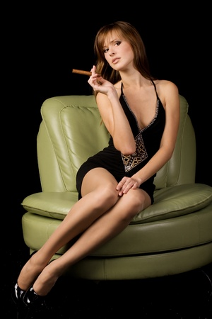 Sexy lady with cigar Stock Photo - 16231009