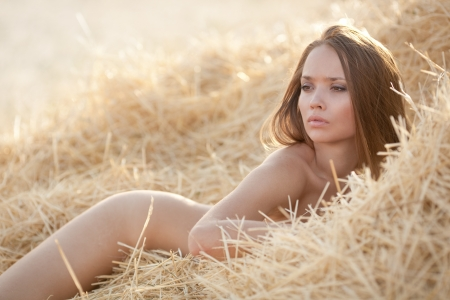 Beautiful sexy young nude woman in the hay