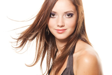 Face of a young brunette Stock Photo