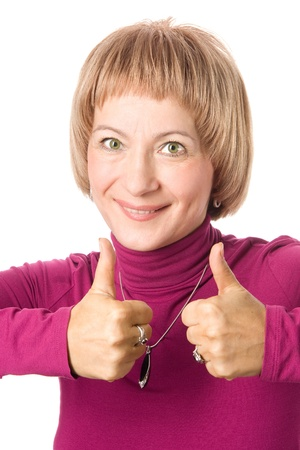 Middle-aged woman showing thumbs up Stock Photo - 16271086