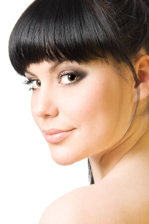 woman neck: Beautiful young woman