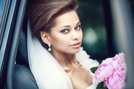 Beautiful happy young bride photo
