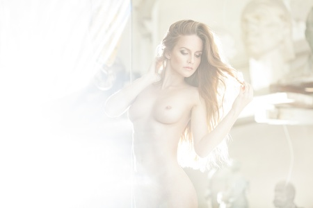 nudity woman: Beautiful nude young sexy woman with perfect slim body