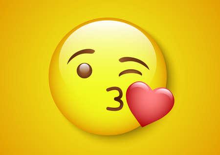 romantic kiss emoticon character