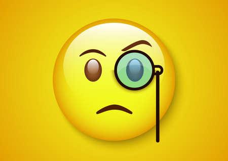Smart emoticon yellow character. Çizim