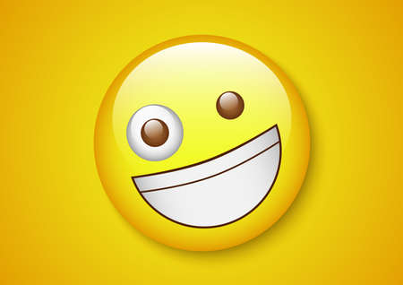 Happiness laughing emoticon yellow character.