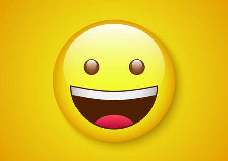 innocent laugh emoticon character Vector illustration.  イラスト・ベクター素材
