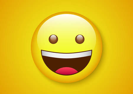 innocent laugh emoticon character Vector illustration. Ilustrace