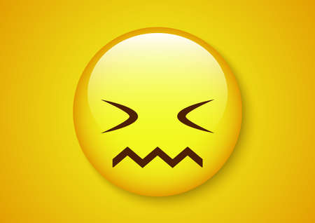 afraid close eyes emoticon character Vector illustration.