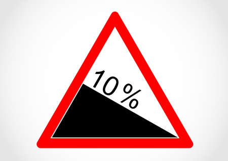 A triangular design for steep hill downwards warning sign