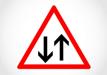 Two way traffic sign. Illustration
